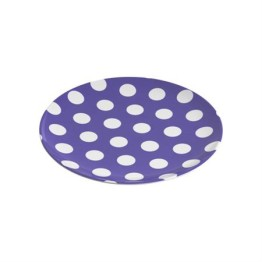 Designer Melamine Plate ~ Purple with White Dots 1