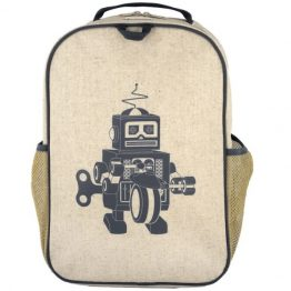 SoYoung Eco Linen Grade School Backpack ~ Grey Robot