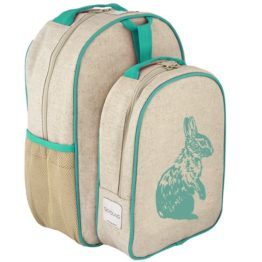 SoYoung Aqua Bunny Raw Linen Toddler Backpack & Lunch Box Set
