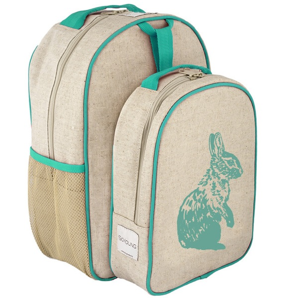 SoYoung Eco Linen Toddler Backpack & Lunch Box Set Aqua Bunny ...