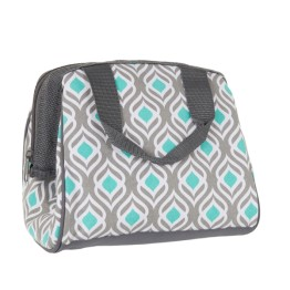Fit & Fresh Cooler Bag Charlotte Grey Aqua Leaf Drop