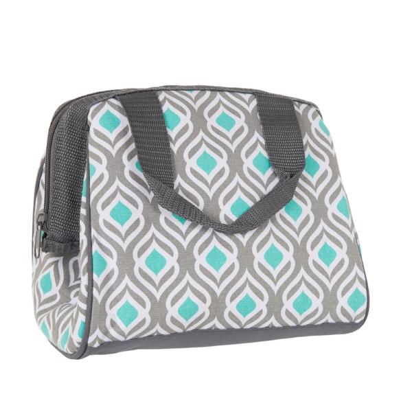 Fit & Fresh Insulated Cooler Bag Charlotte Grey Aqua Leaf