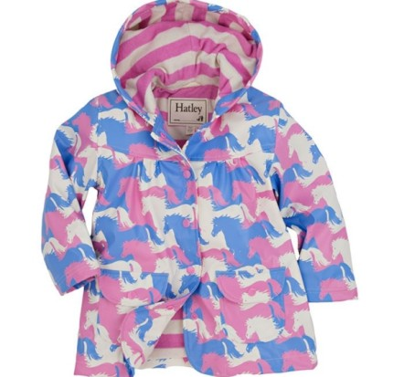 Hatley Girls Raincoat Puzzle Piece Horses