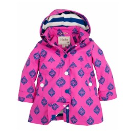 Hatley Girls Splash Jacket Raincoat Fushcia Medallion