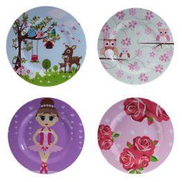 Bobble Art Melamine Girls Plates Set