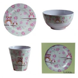 Bobble Art Owl Melamine Gift Set