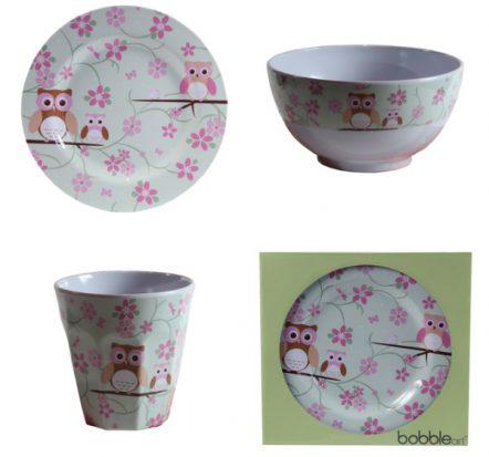 Bobble Art Owl Melamine Gift Set