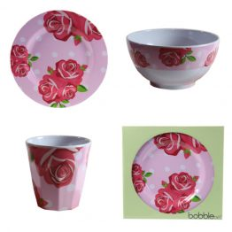 Bobble Art Rose Melamine Gift Set