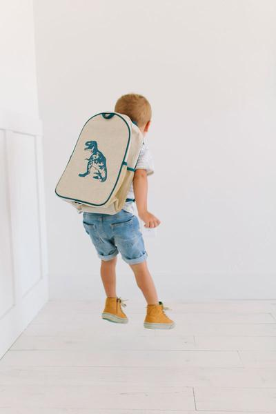4a4d9d9c4107 SoYoung Eco Linen Toddler Backpack Blue Dino - Kids Bags