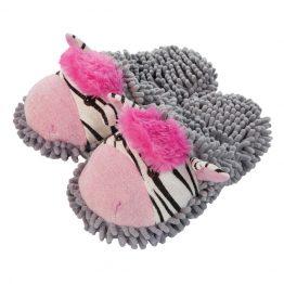 Zebra fuzzy slippers
