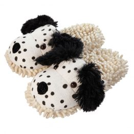 Dalmation fuzzy slippers