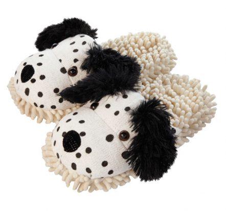 Dalmation fuzzy slippers