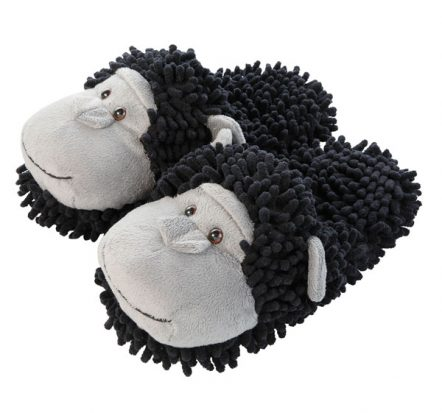 Chimpanzee fuzzy slippers