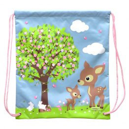 Bobble Art Drawstring Library/Swim Bag - Woodland