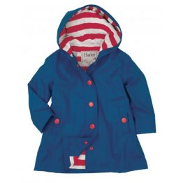 Hatley Girls Splash Jacket Raincoat Navy with Red Stripe