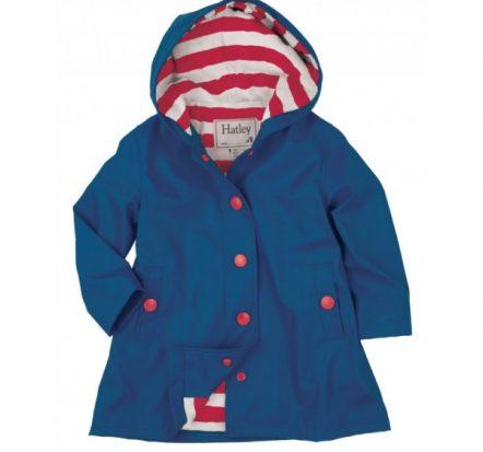 Hatley Girls Splash Jacket Raincoat Navy with Red Stripe