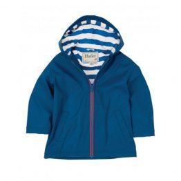 Hatley Boys Splash Jacket Raincoat Navy with Blue Stripes