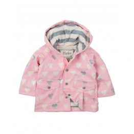 Hatley Infant Girls Raincoat Metallic Hearts