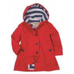 Hatley Girls Splash Jacket Raincoat Red with Navy Stripe