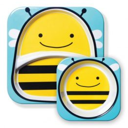Skip Hop Zoo Melamine Bowl & Plate Set Bee