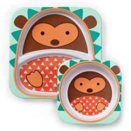 Skip Hop Zoo Melamine Bowl & Plate Set Hedgehog
