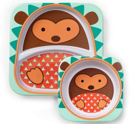 Skip Hop Zoo Melamine Bowl & Plate Set Hedgehog