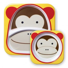 Skip Hop Zoo Melamine Bowl & Plate Set Monkey