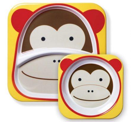 Skip Hop Zoo Melamine Bowl & Plate Set Monkey