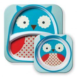 Skip Hop Zoo Melamine Bowl & Plate Set Owl