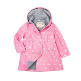 Hatley Girls Silver Butterflies Raincoat