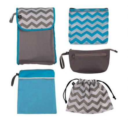 Childress 5 in 1 Nappy Bag Organiser Grey Teal Chevron