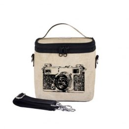 SoYoung Eco Linen Large Cooler Lunch Bag Black Camera