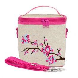 SoYoung Eco Linen Large Cooler Lunch Bag Cherry Blossom
