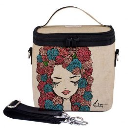 SoYoung Eco Linen Large Cooler Lunch Bag Pixopop Roses