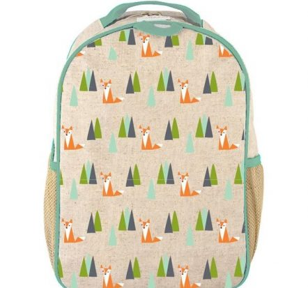 SoYoung Eco Linen Toddler Backpack Olive Fox
