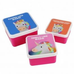 Unicorn Set of 3 Snack Lunch Boxes