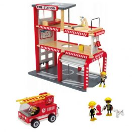 Hape Fire Station with Truck & Firemen Set