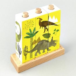 Floss & Rock Dinosaur Wooden Cube Puzzle