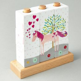 Floss & Rock Fairy Unicorn Wooden Cube Puzzle