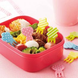 Bento Polka Dot & Stripe Shape Fork Food Picks