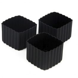 The Little Lunch Box Co Square Bento Cups Black