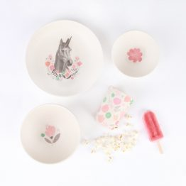 Love Mae Unicorn 4 Piece Bamboo Dinner Set