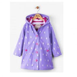 Hatley Girls Silver Raindrops Splash Jacket Raincoat