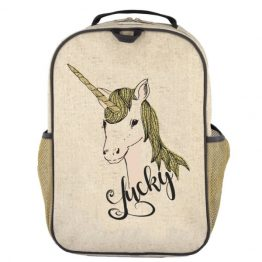 SoYoung Eco Linen Grade School Backpack Lucky Unicorn