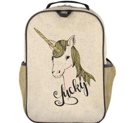 SoYoung Eco Linen Grade School Backpack Lucky Unicorn