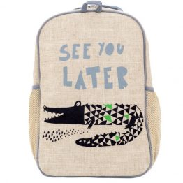 SoYoung Eco Linen Grade School Backpack Wee Gallery Alligator