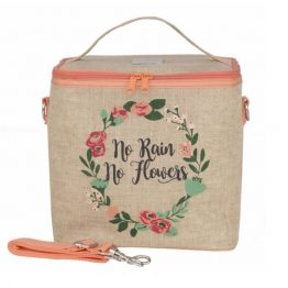 soyoung-laSoYoung Eco Linen Large Cooler Lunch Bag No Rain No Flowers