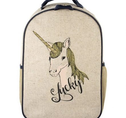 SoYoung Eco Linen Toddler Backpack Lucky Unicorn