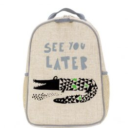 SoYoung Eco Linen Toddler Backpack Wee Gallery Alligator