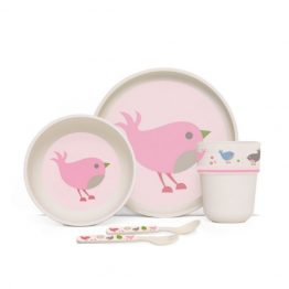 Penny Scallan Chirpy Bird Bamboo Mealtime Set with Cutlery